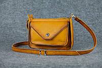 Кожаная женская сумка Уголок через плечо | Италия Янтарь, фото 1