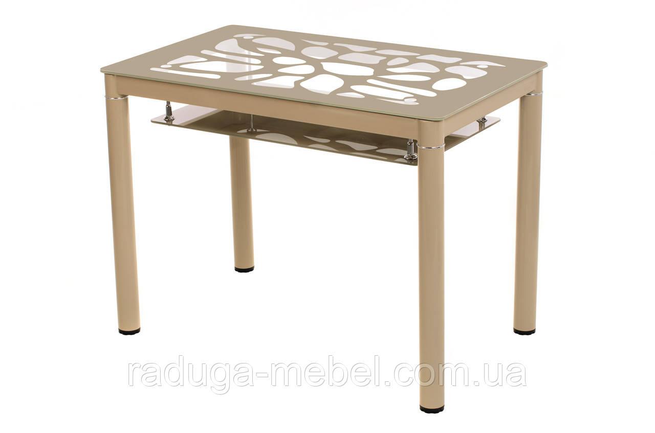 Стол кухонный обеденный стеклянный кофе мокко T-300-2