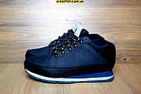 Мужские зимние ботинки New balance с мехом черные с синим