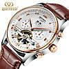 KINYUED Мужские Швейцарские Часы со скелетом Механические часы С автоподзаводом