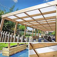 Навес из поликарбоната с деревянным каркасом пристроенный к дому