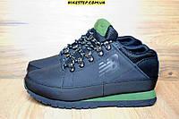 Мужские+подростковые зимние ботинки New balance 754 с мехом черные с зеленым