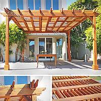 Деревянный навес-пергола пристроенный к дому
