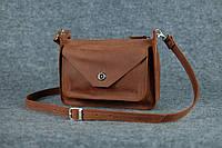 Кожаная женская сумка Уголок через плечо | Винтажный Коньяк, фото 1