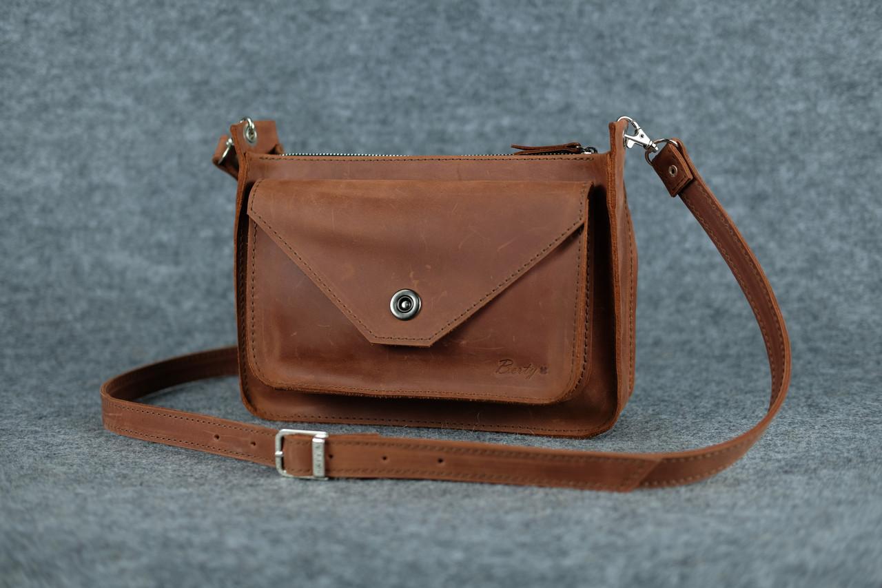 764fe91714ce Кожаная женская сумка Уголок через плечо   Винтажный Коньяк - Sollomia -  интернет-магазин кожаных