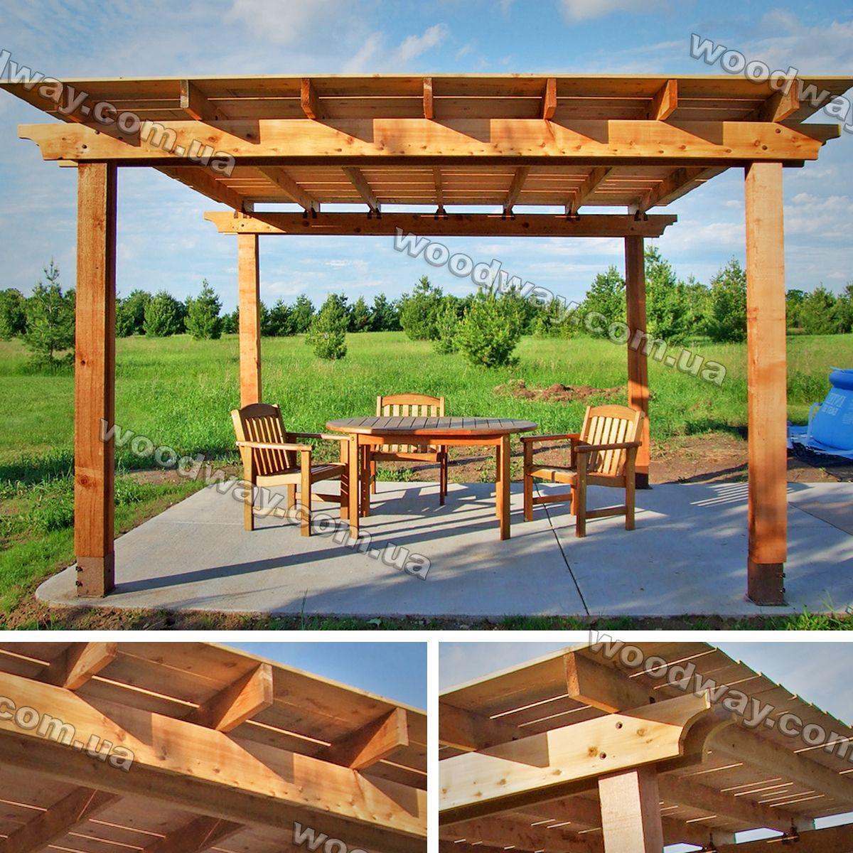 Стол с навесом для дачи из дерева 122