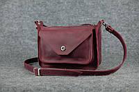 Кожаная женская сумка Уголок через плечо | Винтажный Бордо, фото 1