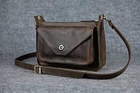 Кожаная женская сумка Уголок через плечо | Винтажный Кофе, фото 1