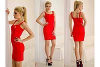 """Платье """"От Шанель"""", короткое женское приталенное красное платье. Разные размеры., фото 1"""
