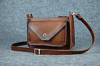 Кожаная женская сумка Уголок через плечо | Италия Орех, фото 1