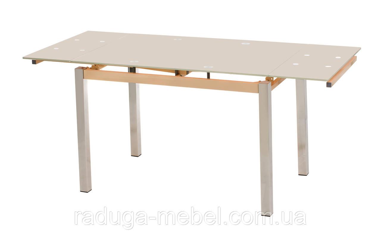Стол кухонный обеденный стеклянный кремовый  T-231