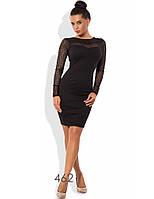 Платье-футляр облегающее с рукавами из гипюра