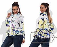 Яркая женская рубашка в больших размерах у-t15BR1245