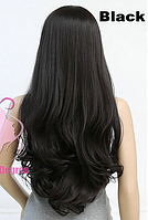 Женский парик из искусственных волос, длинные волнистые волосы, цвет - черный