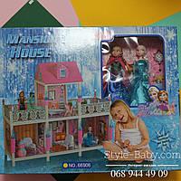 Кукольный дом Фроузен с мебелью: две куклы Эльза Анна  в коробке 72*58*14 см