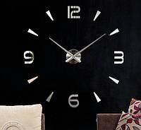 Настенные объемные часы до 1м с цифрами и штрихами Серебро diy сделай сам Art Clock 3d большие