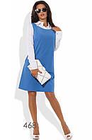 Платье-трапеция двухцветное с длинными рукавами