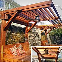 Навесной козырек из дерева для зоны отдыха для защиты от солнца