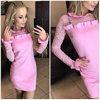 Женское платье с кружевом мини