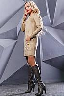Лаконичное мини-платье кофейного цвета 44-50р