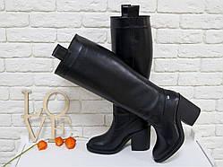 Сапоги свободного одевания из натуральной кожи черного цвета