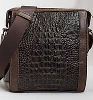 Мужская кожаная сумка коричневая под крокодил