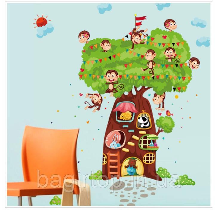 Интерьерная наклейка на стену Обезьяны и дерево (180х110см)