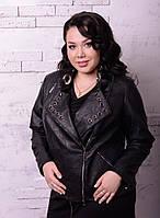 Женская куртка-косуха из кожзама в 66 размере o-r10BR1236