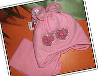 """Комплект шапка и шарф для девочки,""""Зайчик"""" Ambra, утеплитель Iso Soft, 46-48р"""