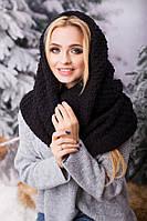 Зимовий чорний в'язаний хомут/шарф Licato uni