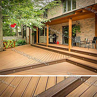 Летняя терраса из дерева пристроенная к дому с навесом