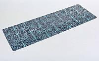 Коврик для йоги (Йога мат) замша, каучук 3мм двухслойный  (синий-черный)