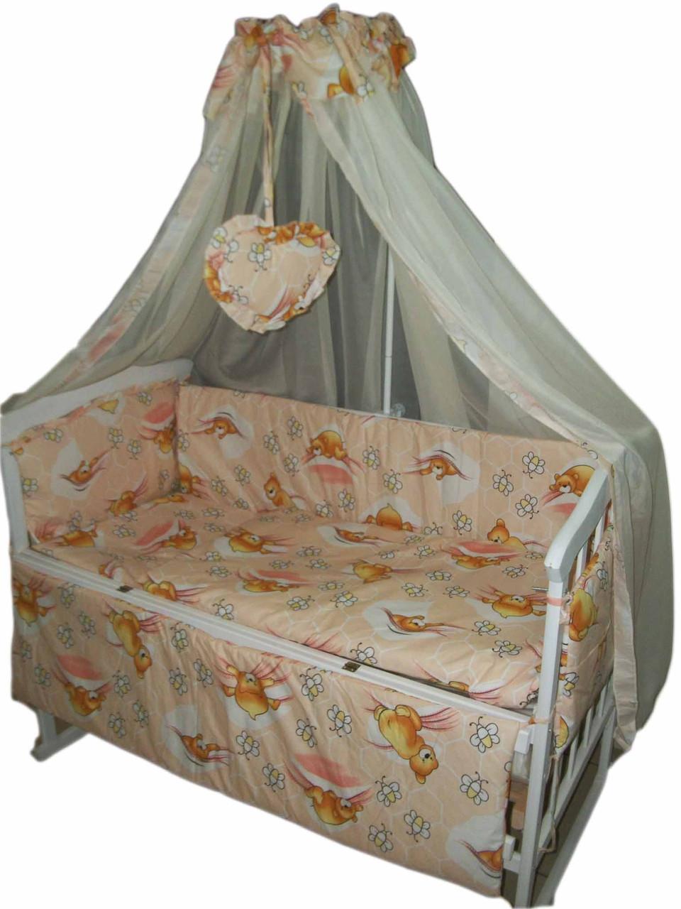 """Комплект постельного белья """"Baby 8 элементов Мишки с пчелками персиковый"""""""