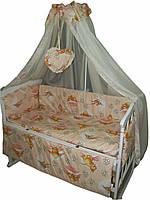 """Постельный набор в детскую кроватку """"Baby 8 элементов Мишки с пчелками персиковый"""""""