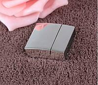 Застежка магнитная для браслета для ремня пряжка прямоугольная большая цвет серебро