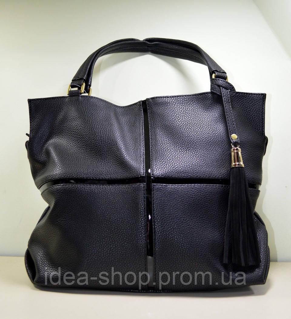 71c072a7719d Большая женская стильная сумка через плечо цвет черный - интернет-магазин