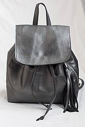Модный женский кожаный рюкзак тёмное серебро.