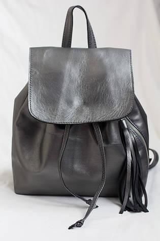 Модный женский кожаный рюкзак тёмное серебро., фото 2