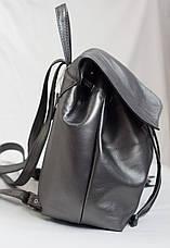 Модный женский кожаный рюкзак тёмное серебро., фото 3