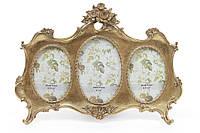 Настольный коллаж на 3 фото , цвет - состаренное золото 24х35 см