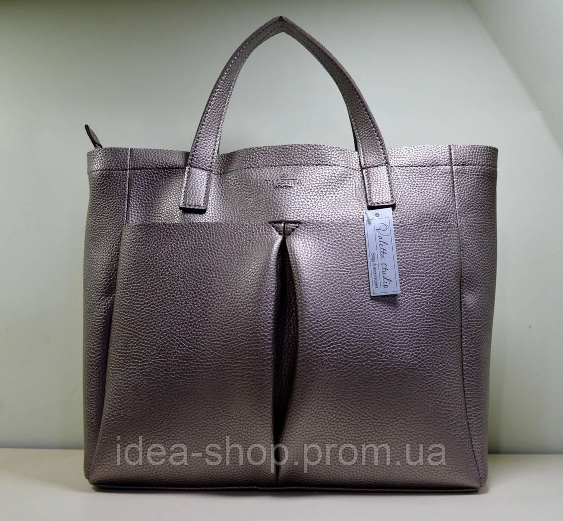 Женская сумка шоппер , эко кожа серебристо-розовая - интернет-магазин