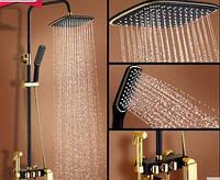 Душевая стойка для ванной комнаты со смесителем краном, лейкой и верхним душем 0233, фото 1
