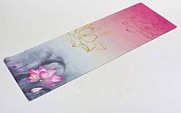 Коврик для йоги (Йога мат) замша, каучук 3мм двухслойный  (серый-красный)