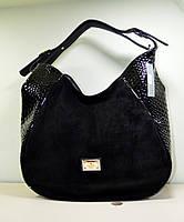 Классная большая сумка с замшей черного цвета через плечо