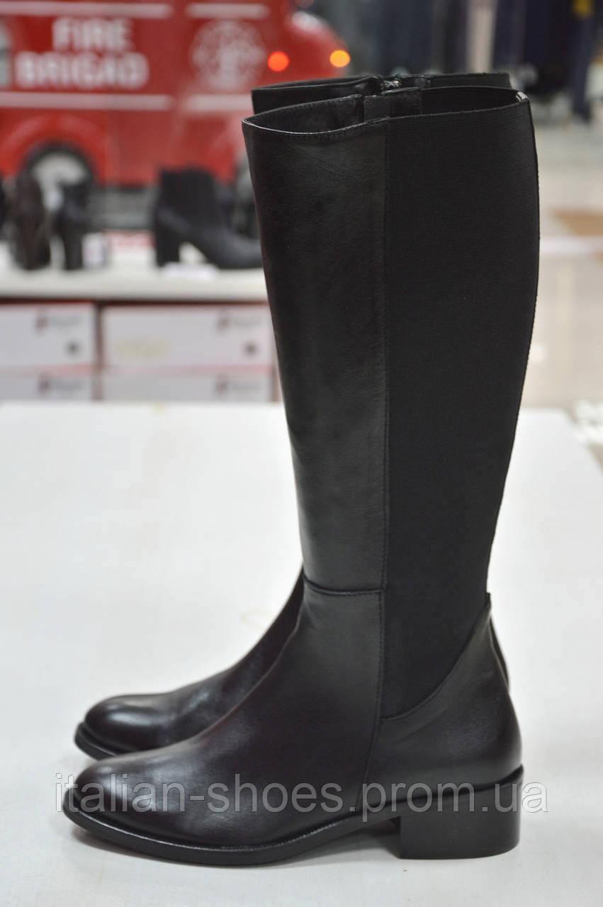 Сапоги черные кожаные с резинкой Slash к.-514