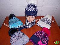 Комплект для девочки (шапка+шарф) на флисе р.52-54 см