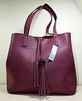 Модная сумка красного цвета из эко-кожи, модель осень-зима 2018