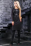 Осеннее черное платье 2408 Seventeen 44-50 размер