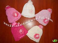 Детские зимние шапки оптом. Шерстяная шапка для девочр.44-46 см, 50% шерсть (бубоны - натуральный мех)