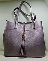 Модная сумка серебристого цвета из эко-кожи, модель осень-зима 2018